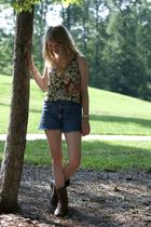 brown Frye boots - blue vintage levis shorts - beige Buckle top