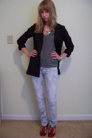 chicos jacket - abercrombie and fitch shirt - forever 21 jeans - Steve Madden sh