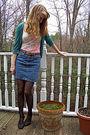 Green-frenchi-cardigan-beige-forever-21-shirt-blue-thrifted-skirt-black-ta