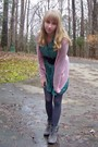 Pink-rubbish-sweater-green-vintage-dress-gray-hue-tights-gray-target-shoes