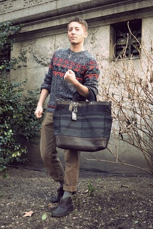 navy Topman sweater - dark brown Clarks boots - navy coach bag