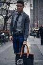 Black-coach-bag-navy-levis-jeans-charcoal-gray-cpo-shirt-black-uniqlo-tie