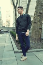 forest green Uniqlo sweater - tan Vans shoes - navy Forever 21 jeans