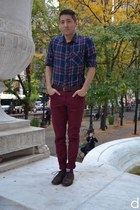 navy H&M shirt - dark brown Frye shoes - brick red Forever 21 socks