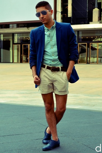 blue H&M blazer - navy Wanted shoes - aquamarine asos shirt