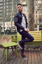 navy H&M jacket - navy Levis jeans - periwinkle Topman shirt