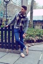 beige Vans shoes - blue H&M jeans - heather gray Club Monaco sweater