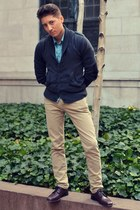 dark gray H&M cardigan - crimson florsheim shoes - tan Levis jeans