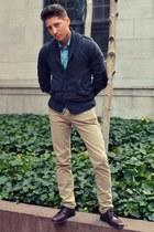 dark gray H&M cardigan - crimson florsheim shoes - tan Levis jeans