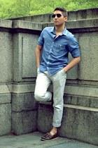 sky blue H&M shirt - beige Topman pants - dark brown sperry topsider loafers
