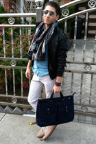 navy canvas Jack Spade bag - beige suede Vans shoes