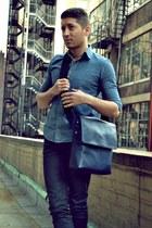 blue American Apparel shirt - navy Jack Spade bag - black Zara pants