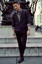 dark gray H&M cardigan - black Candies boots - black CPO shirt