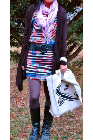 blue dress - black cardigan - black belt - purple scarf - black boots - silver s