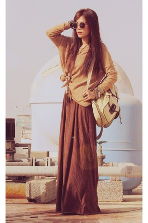 brown wore as skirt vintage dress - camel oversized H&M sweater
