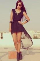 black Romwecom dress - black Forever 21 boots - black H&M bracelet