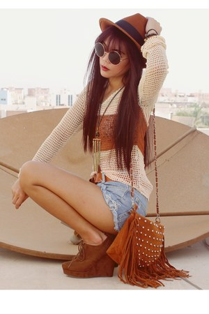 tawny fringe vintage bag - brown Forever 21 shoes - tawny Topshop hat