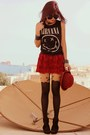 Black-nirvana-h-m-t-shirt-ruby-red-bowler-romwecom-hat-black-topshop-tights