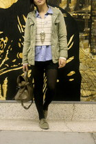dark khaki Pour La Victoire shoes - olive green Gap jacket - tan H&M sweater - v