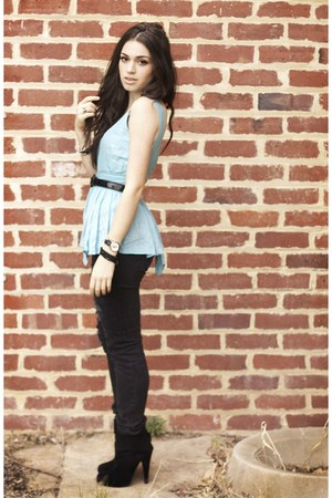 black peeptoe boots - black Insight jeans - sky blue low back Ruby top - black p