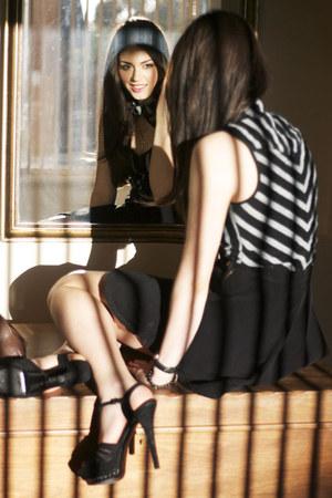 black striped thrifted vest - black American Apparel skirt - black Fendi heels