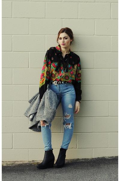 floral Shakuhachi blouse - asos boots - cameo coat