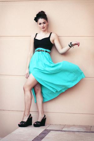 turquoise blue vintage skirt - black suede BeeFly wedges - black Sportsgirl top