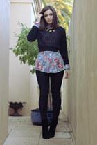 blue floral print ben sherman shirt - black peeptoe boots