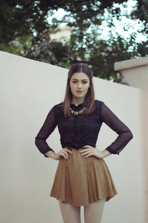 black Soles boots - gold vintage dress - bronze metal asos necklace