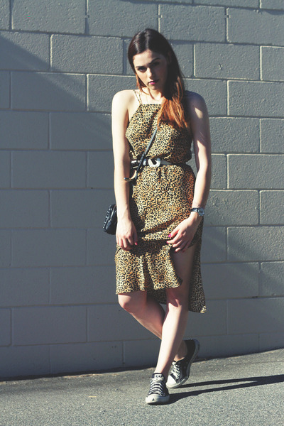 black Miu Miu bag - gold leopard print Silence  Noise dress - black clover belt