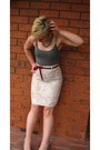 Beige-vintage-thrifted-skirt-gray-cotton-on-top-diva-accessories