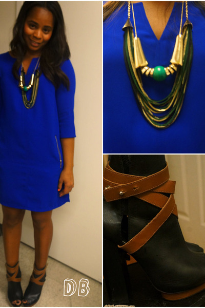 Express necklace - Topshop boots - H&M dress