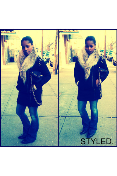 H&M coat - Express jeans - H&M scarf
