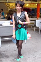 fab dress - Nine West bag - Parisian flats - Tomato vest