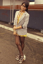 Tomato blazer - plaid bought online vest - yellow bench top - mags wedges