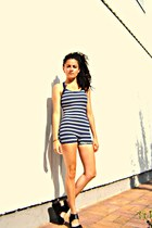 blue 50s style Yajiasi swimwear - black H&M Divided wedges