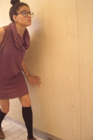 American Apparel dress - glasses - stockings - next vintage shoes - annapelle pu