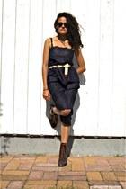 black vintage eOvu dress - dark brown vintage eOvu boots