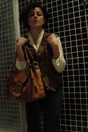 utter blouse - unknown brand vest - Wera Stockholm purse - karen miller blazer