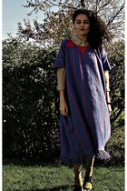 blue mexican poncho vintage dress