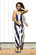 navy stripes eOvu dress - turquoise blue color block eOvu heels