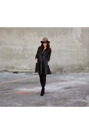 black leather bcbg max azria dress - dark khaki wool JCrew hat