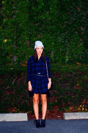black Jeffrey Campbell boots - blue dress - silver hat - black bag