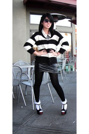 black knit Old Navy sweater - black GoJane shoes - white Target socks