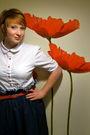 White-shade-shirt-red-vintage-belt-blue-handmade-by-me-skirt-gray-f21-shoe