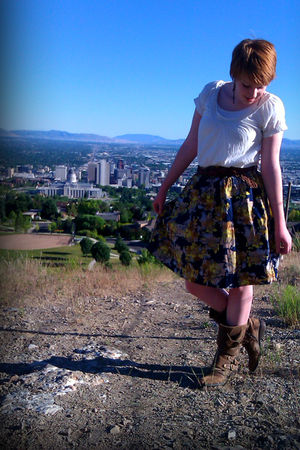 beige Silk American Eagle shirt - gold shade skirt - brown American Eagle belt -