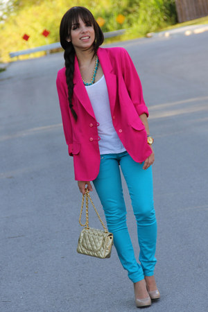 sky blue Forever 21 jeans - hot pink vintage blazer - gold Mimi Boutique bag - h