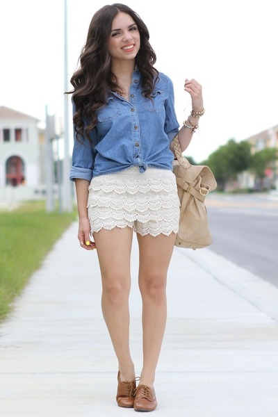 bronze nine  west shoes - blue Forever 21 shirt - tan Mimi Boutique bag