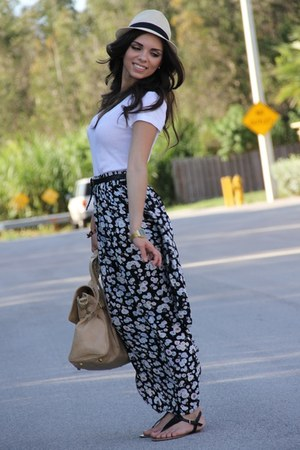 black maxi skirt Forever 21 skirt - tan Agaci hat - tan Mimi Boutique bag