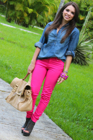 blue Forever 21 shirt - gray Shoedazzle boots - hot pink Zara jeans